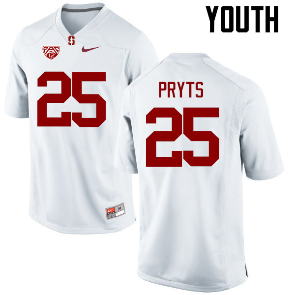 Youth Stanford Cardinal #25 Andrew Pryts College Football Jerseys Sale-White